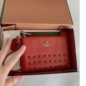 NWT COACH RED COIN PURSE